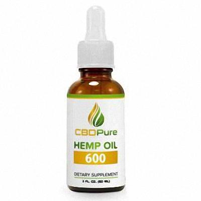 CBDPURE hemp oil 600 mg in a white background